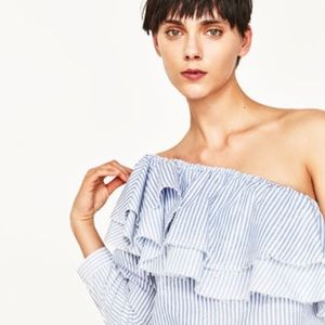 *NWOT* Zara Striped Ruffle Asymmetrical Top